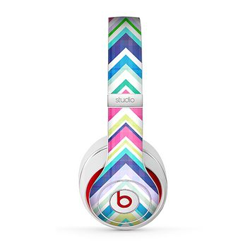 The Vibrant Pink & Blue Layered Chevron Pattern Skin for the Beats by Dre Studio (2013+ Version) Headphones