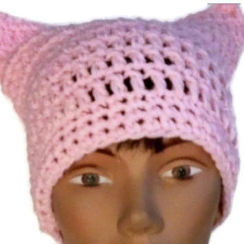 Baby Pink Pussy Hat Crochet or Knit Handmade Women's March Pussy Hat Women Power Woman's Rights Are Human Rights