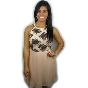 Party Ready Sequin Dress in Blush