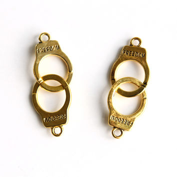 Charm - Handcuffs, Antique Gold
