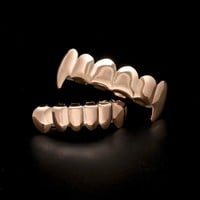 Real Shiny! 24k Rose Gold Silver Plated Hip Hop Teeth Grillz Top & Bootom Groll Set With Silicone Vampire Teeth Christmas Gift