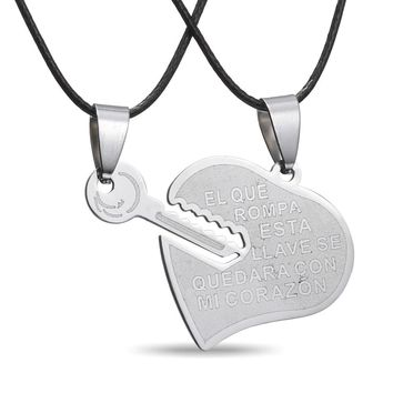 new Fashion Key open Heart LOCK necklace stainless steel Jewelry For Women wedding Valentine's Day engrave letter Love Gift