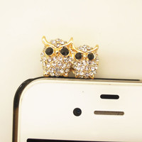 1PC Bling Crystal Owl Couples Cell Phone Earphone Jack Antidust Plug Charm for iPhone 5,5s,Samsung S3,S4, Nokia HTC  Smart Phone Charm