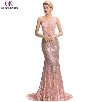 Long Mermaid Evening Dress Grace Karin Sequin Beaded Applique Lace Pink Backless Floor Length Party Dresses Elegant Formal Gowns