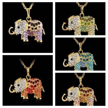 Rinhoo Free shipping Fashion Lucky Lovely jewelry accessories bohemia long design vintage rhinestone elephant necklace pendant