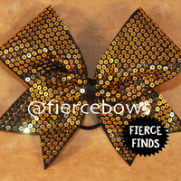Gold Rush Sequin Cheer Bow
