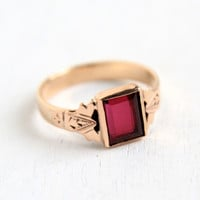 Antique Edwardian Ruby 10k Rose Gold Ring - Size 4 Vintage Early 1900s Pinky Baby Fine Midi Jewelry