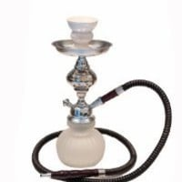 "Deluxe 12"" 1 Hose Artisan Glass Mini Pumpkin Hookah BEST VALUE! (White)"