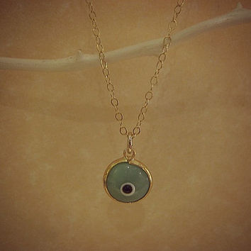 Aqua Blue Green Evil Eye Necklace, Good Luck, Protection