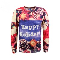 2017 autumn and winter thicker men's pine Christmas 3D printing plus cashmere sweater