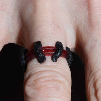 Gothic Stitches Zombie Ring- Dark Red  - Monster Stitches Frankenstein Psychobilly