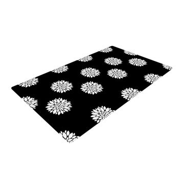 "Suzanne Carter ""Peony Rose"" Black White Woven Area Rug"
