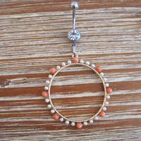 Belly Button Ring - Body Jewelry - Pearl and Orange Bead Hoop with Clear Gem Stone Belly Button Ring