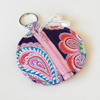 Floral Earbud Holder / Coin Pouch / Paisley Coin Purse / Purple / Earbud Case / Ear Bud Holder / Back to School / Small Circle Pouch