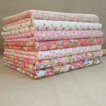 7 pcs/lot Sweet Pink Printed Cotton Fabric Telas Bundle DIY Patchwork Sewing Baby Toy Material Quilting Bedding Tecido D