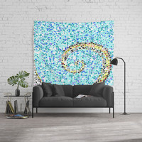 Mediterranean Wave Mosaic Wall Tapestry by byjwp