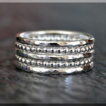 Set of 5 Sterling Silver Stacking Rings, 2 Dot Rings, 3 Hammered Rings, Ring Stack, Stackable Sterling Silver Rings, Full Bead Ring