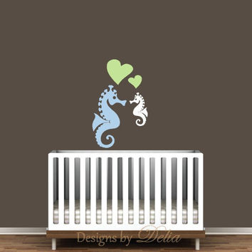 Seahorse and baby seahorse decal