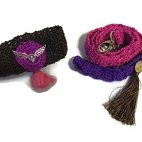 Knit Crochet dog Collar Cover and Leash