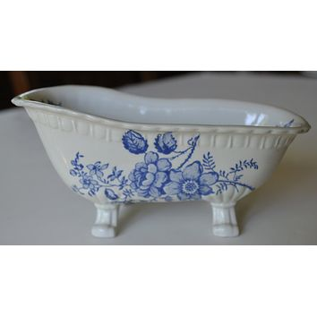 Blue Toile Transferware Ironstone Claw Foot Bath Tub Soap Dish Charlotte England
