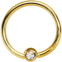 "16 Gauge 3/8"" Aurora Crystal Gold Titanium BCR Captive Ring 