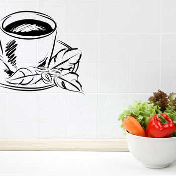 Wall Vinyl Decal Sticker Tea Cup Coffee Cup Cute Decor Cafe Kitchen Unique Gift (z4583)