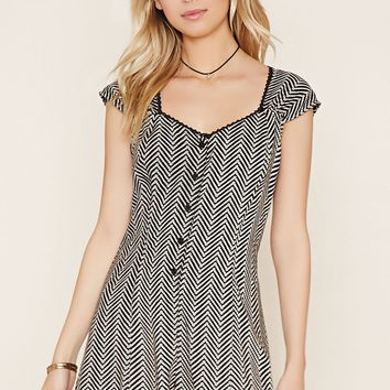 Chevron Lace-Up Romper   Forever 21 - 2000152421