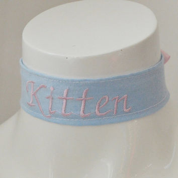 Embroidered Kitten - pink and blue kawaii cute neko lolita kitten pet play ddlg little princess day collar
