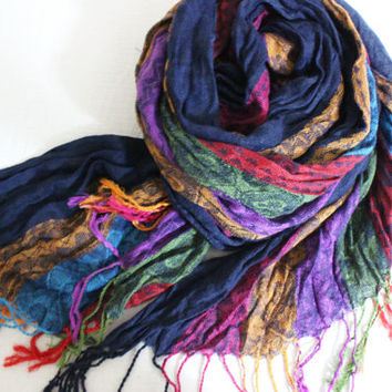 Ethnic Men scarves, Color Men scarves, Striped scarf men, Rainbow linen scarf, Blue pink orange scarves, Men gifts, Turkish fabric scarf