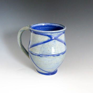 Large Blue & Grey Stoneware Mug - Handmade Coffee Mug