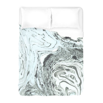 Marbled Mint Duvet Cover
