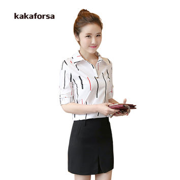 Kakaforsa Spring Summer Women Cotton Striped Blouse Long Sleeve Office Blouses Shirts Fashion Turn-down Collar Tops Red White
