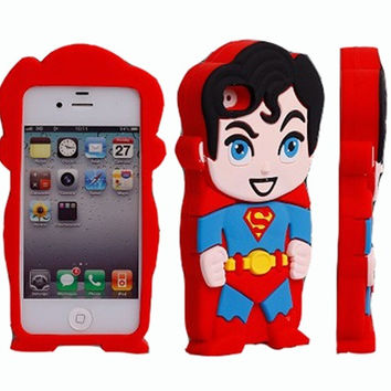 Universal Trading Red 3D Superman Pattern Soft Silicone Case Cover For iPhone 4 4s/4g = 1946850372