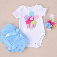 Baby Girl Rainbow Flower Short Sleeve Rompers And Ruffle Bloomers Infant Girls Clothes Sets