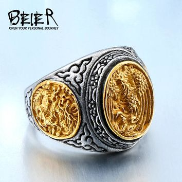BEIER New arrive alibaba-express stainless steel gold colour fashion phoenix ring carving jewelry for man Unique JewelryBR8-470