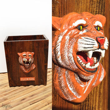 Clemson Trash Can // Vintage Clemson Tigers // Waste Basket // Clemson University // Tiger Rag