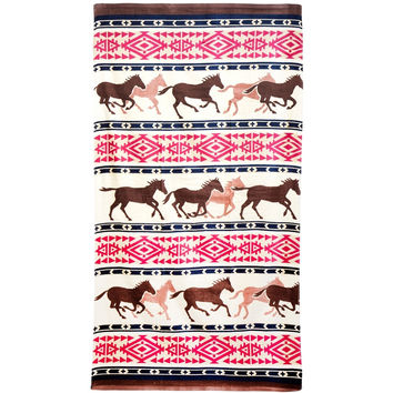 Horses Running Oversized Southwest Motif Towel