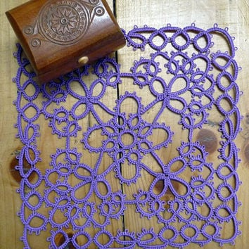 Tatting square doily lilac-home decor-lilac coasters-handmade doily-lace doily-Housewarming