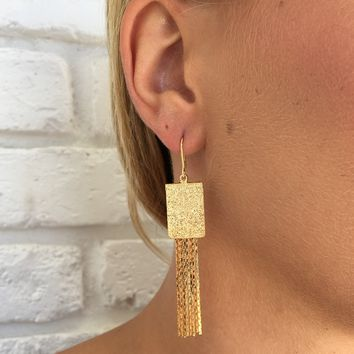 Shine In Gold Fringe Earrings