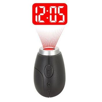 Fashion Mini Projection Clock Lamp Keyrings Red Light Keychains best Gift