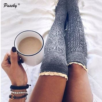 Fashion Ladies Knee High Lace Socks Women Over Knee Socks Thigh High Thick Lovely Girl Knitting Long Stockings