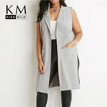 Kissmilk Women Plus Size Side Split  Blazer Vests Turn-down Collar Sleeveless Big Size Coat Workwear Longline Jacket  5XL 6XL
