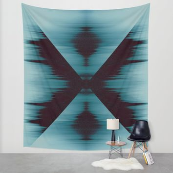 Aquamarine X Wall Tapestry by Ducky B