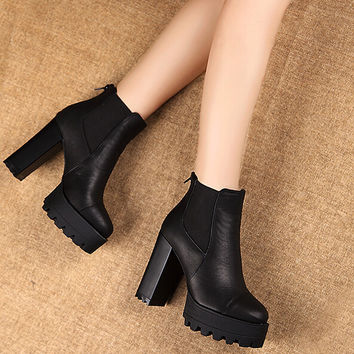 Waterproof leather high-heeled Martin boots