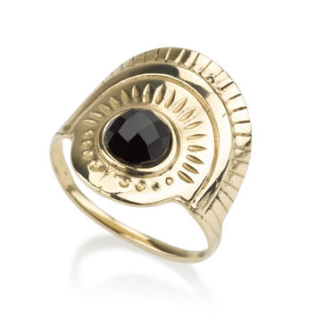 Gold Pharaoh ring, Egyptian Ring,  BLACK ONYX stone, ,Made from 14K Gold