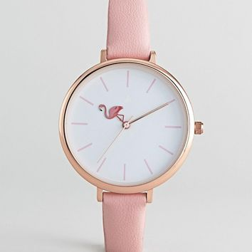 ASOS DESIGN Club Tropics Flamingo Watch at asos.com