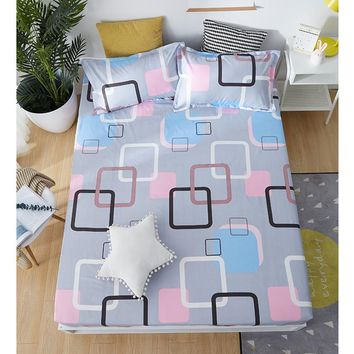 Cool Fitted Sheet Mattress Cover With Elastic Band Bed Sheet & Pillowcases Solid Color Single Full Queen King Bed Cover cubrecamaAT_93_12