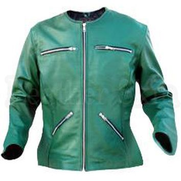 Green Collarless Women Leather Jacket