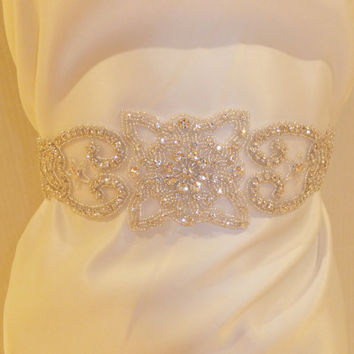 Wedding Sash, PRINCESSA, Bridal Sash, Crystal Sash, Rhinestone Sash, Bridal Belt