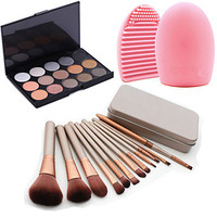 Cosmetic Set-Tool Blush Foundation Brushes + Shimmer Eyeshadow Palette+Brush Cleaning Tool Combo